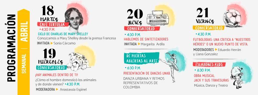 Programación de la Casa del Libro Total de Bucaramanga para el mes de abril